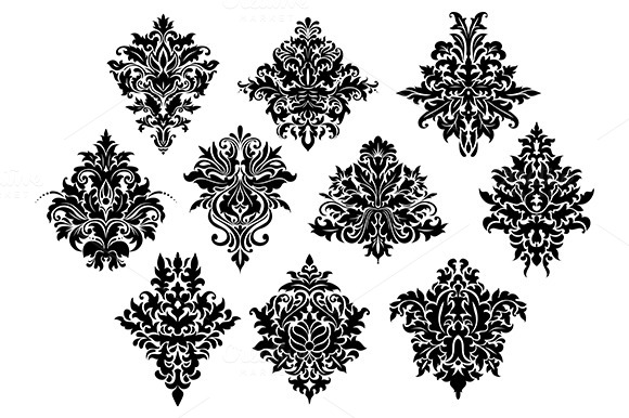 Black Ornate Flowers In Damask Style