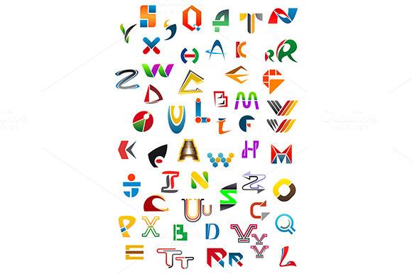 Abstract Geometric Alphabet Icons