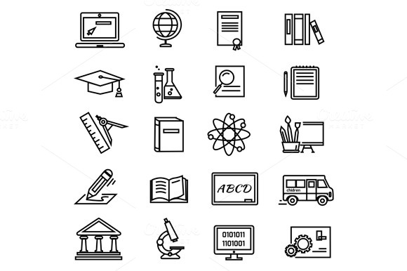 Lines Education Icons On White