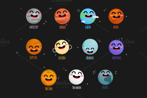 Solar System Elements With Faces