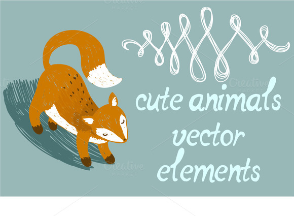 Cards & elements. Cute animals. - Illustrations