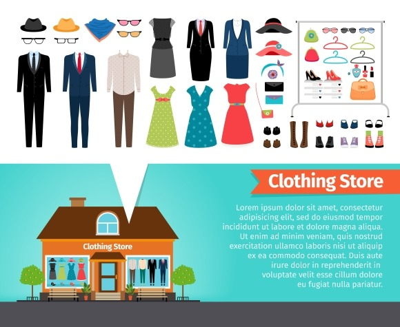 Clothing store. Set of clothes. - Graphics