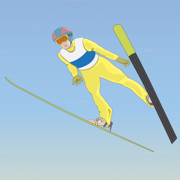 Ski jumping. A man in the air - Illustrations