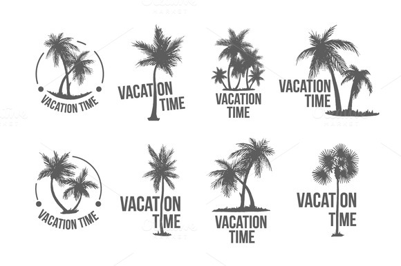8 Tropical Palm Logo Illustration