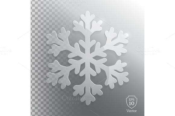 Glass Transparent Snowflake Vector