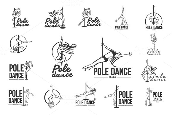 Girl on the pole. Strip plastic logo - Illustrations