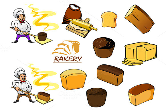 Bakery Icons In Cartoon Style