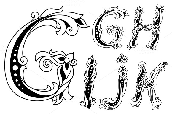 Letters G H I J And K In Retro Fl
