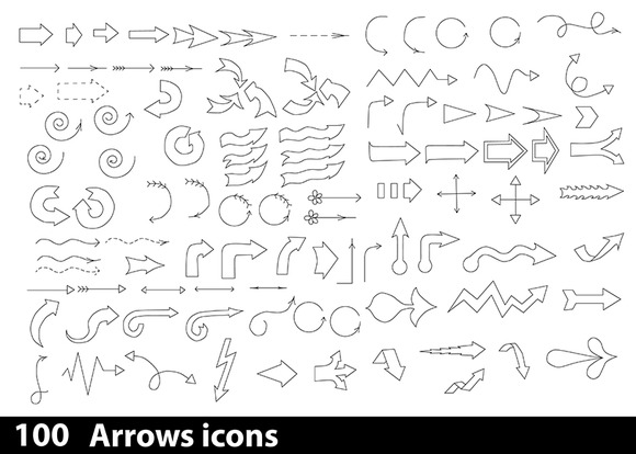 100 Hand-drawn Arrows Icons