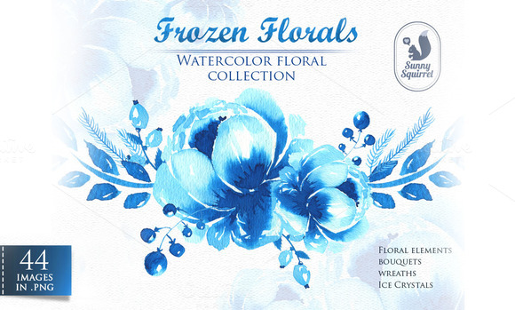 Frozen Florals. Watercolor set - Illustrations