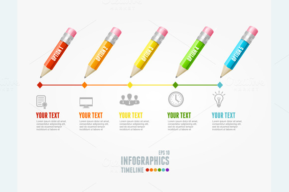 Timeline Infographic. Pencil Pin. - Illustrations