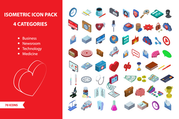 Isometric 70 Icon Pack