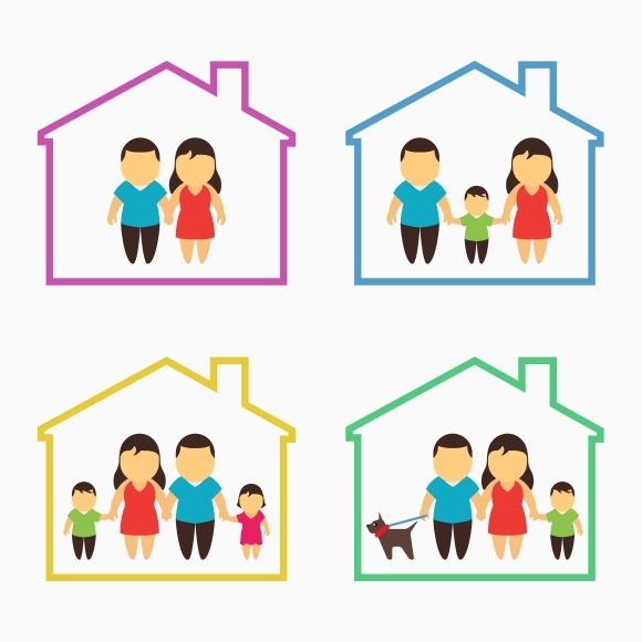 Family Home Icons Set