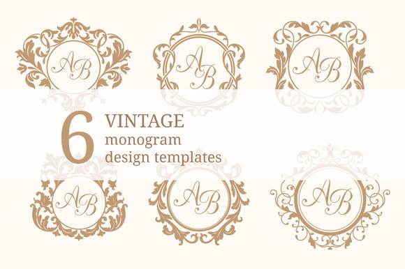 vintage monogram design templates logo templates on