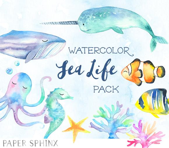 Sweet Sea Life Watercolor Pack