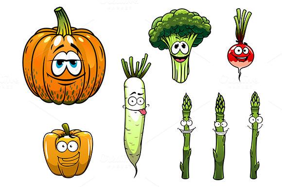 Broccoli Asparagus Radish Pumpkin