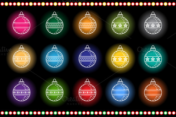 New Year Decorations set. Neon light - Icons