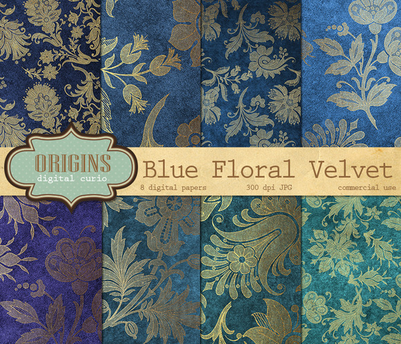 Blue Velvet Gold Floral Backgrounds