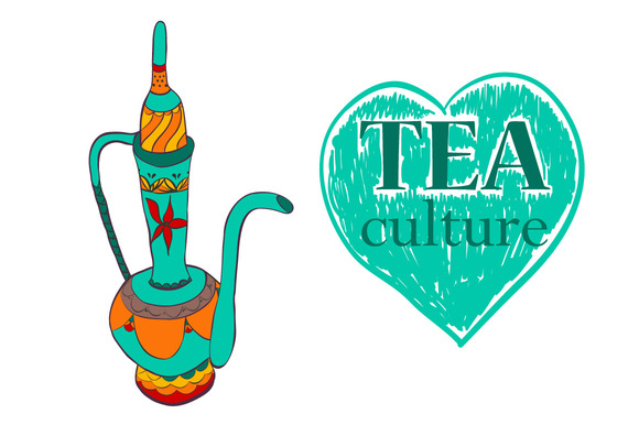 Tea culture. Turkey. Hand drawn - Illustrations