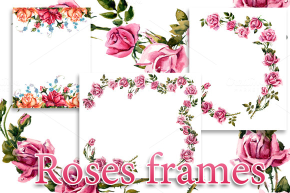 Frame from roses. Roses brunch. - Illustrations