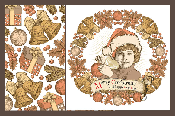 Set. Christmas, New Year, Card. - Illustrations