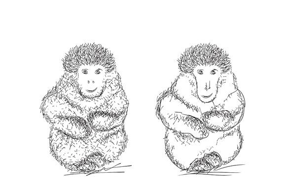 Cartoon monkey sketch. Gorilla. - Illustrations