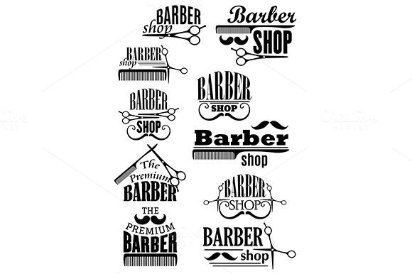 Black Vintage Barber Shop Logo And E