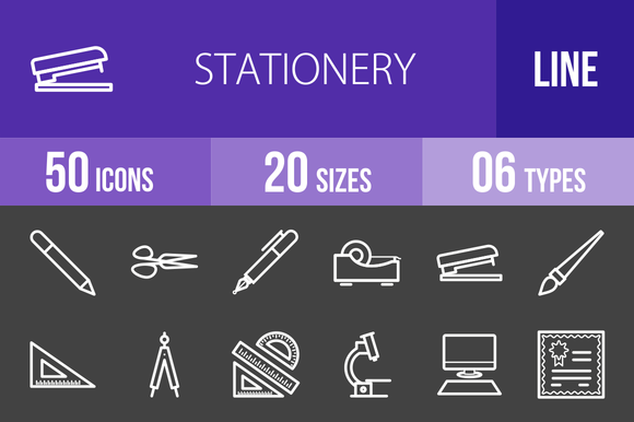 50 Stationery Line Inverted Icons