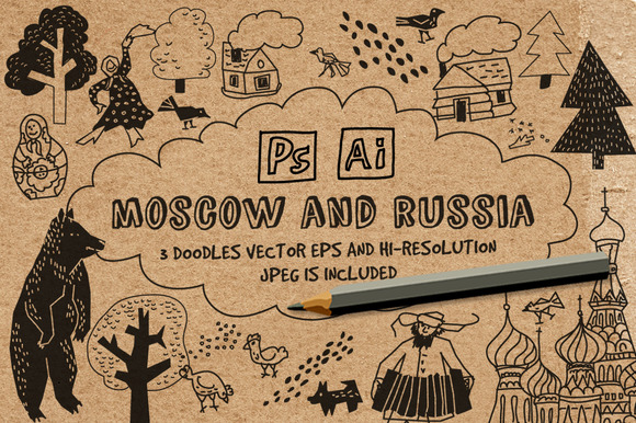 Vector doodles. Moscow and Russia - Illustrations