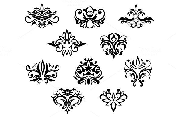 Set Of Black And White Floral Elemen