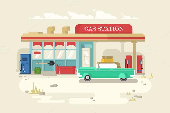 Gas Stantion Retro Flat Design