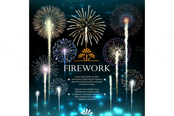 Set Of Fireworks Festive Banner