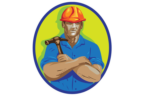 Construction Worker Foreman Arms Cro