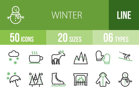 50 Winter Line Green Black Icons