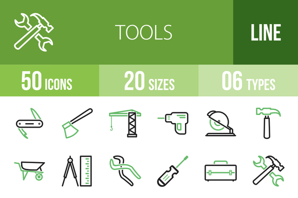 50 Tools Line Green Black Icons