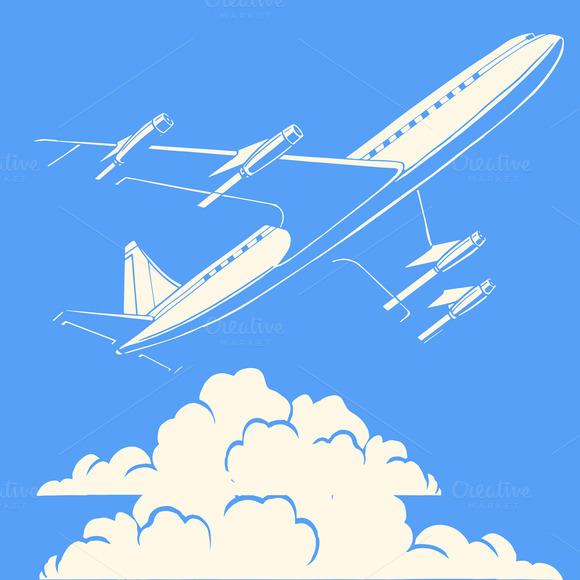 Passenger Airplane Clouds Retro