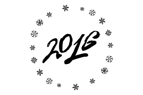 2016 Year. Snowflake. Vector - Graphics