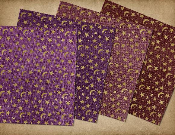 Burlap Gold Celestial Digital Paper