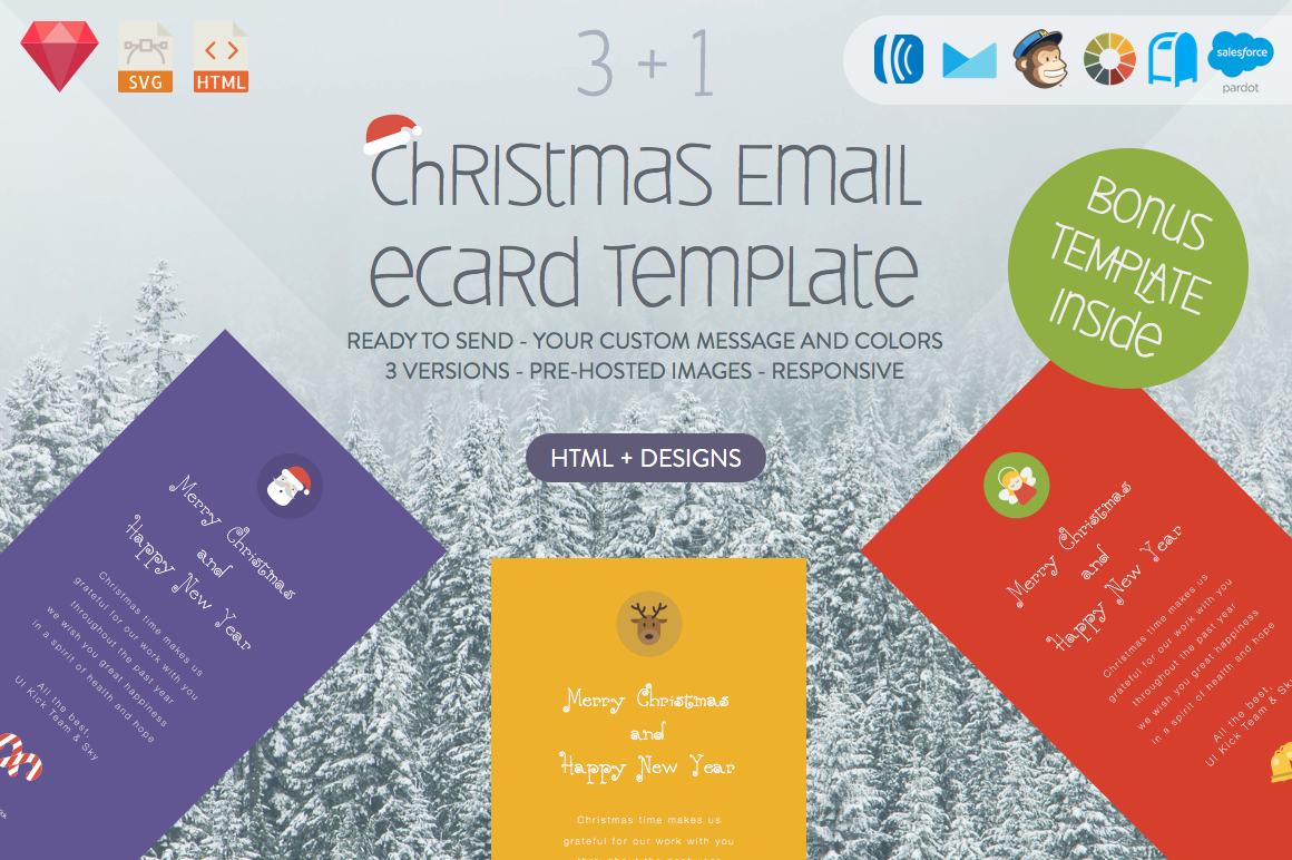 christmas email ecard html designs email templates on creative market. Black Bedroom Furniture Sets. Home Design Ideas
