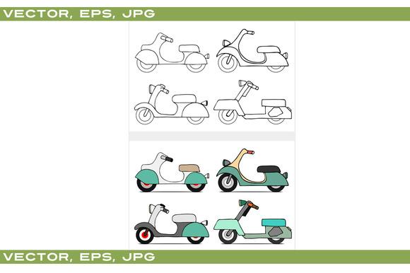 Set of scooters. vintage model. - Illustrations