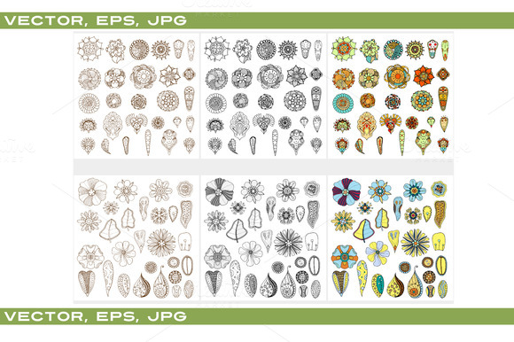 Set of abstract flowers. Vector - Patterns