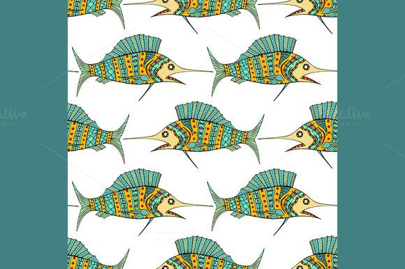 Vector Zentangle Fish Background