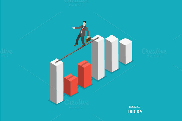 Business Tricks Isometric Concept