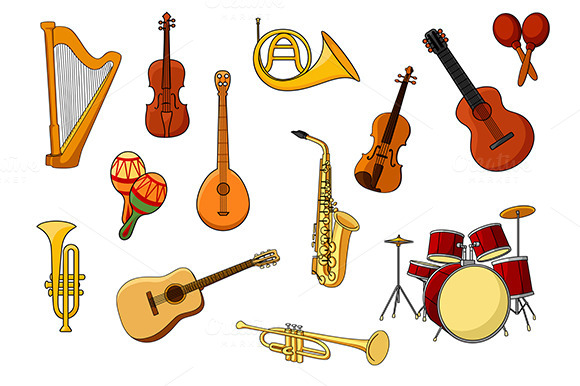 Cartoon Set Of Colored Musical Instr