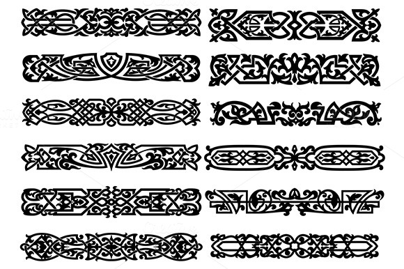 Black And White Ornaments Or Borders