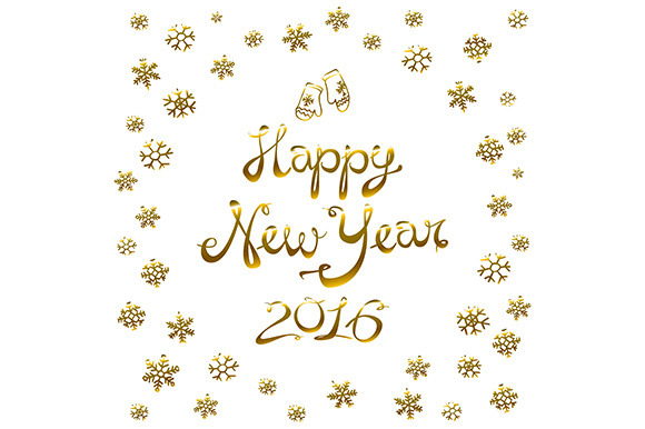 Gold Happy New Year 2016. Vector - Graphics