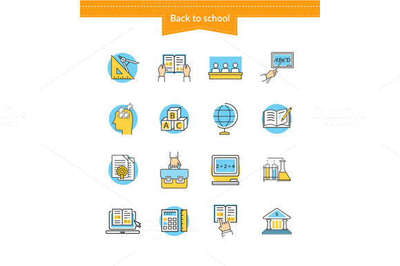 Set Of Icons Back To School Flat Sty