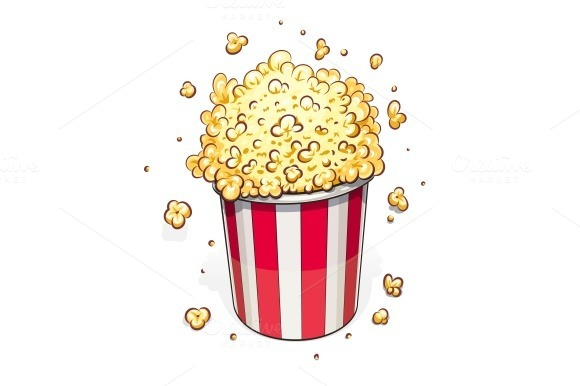 Popcorn In Striped Basket