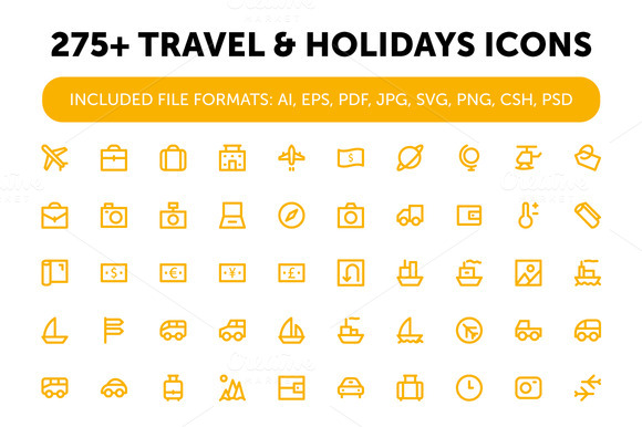 275 Travel And Holidays Icons