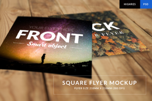 Square flyer mockup (Carré 210) HR